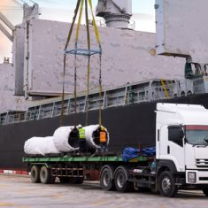 Project logistics with truck carrying concrete